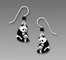 Sienna Sky Mother and Baby PANDA Bear EARRINGS - STERLING Silver Dangle - Boxed