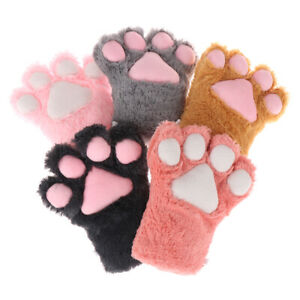 Cute Bear Cat Paw Gloves Fluffy Plush Cartoon Animal Anime Lolita Cosplay M Xu48