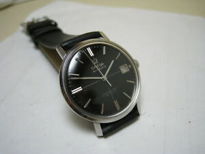 OMEGA SEAMASTER DE VILLE AUTOMATIC DATE BLACK DIAL STAINLESS STEEL 1965 WATCH