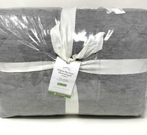 New~Pottery Barn Belgian Flax Linen Diamond KING Quilt~Flagstone Gray