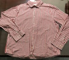Penguin by Munsingwear Mens Red White Striped Henley Shirt Size XXL Classic Fit