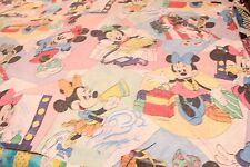 VTG Disney Minnie Mouse Retro Print Twin Sheet Quilter Cutter Fabric Faded Holes