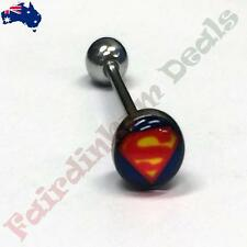16 mm Surgical Steel Tongue bar with 7 mm Superman Logo Dome Top
