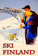 Travel Skiing Ski  Winter Holidays Finland  Vacation  Poster Print