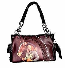 Montana West Cowgirl Horse Equestrian Coffee Handbag Western Cowgirl Purse