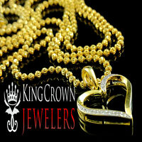 Ladies Womens Gold Finish Genuine Diamond Heart Charm Pendant Chain Necklace