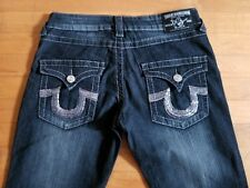 True Religion Women's Straight Leg Stretch Sequin Embellished Jeans Size 29