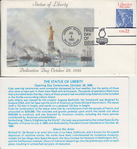 FDC STATUE LIBERTY DEDICATION DAY JUL 4 1986 CACHET RICHARD DeROSSET AUTOGRAPHED