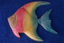 "Beautiful Wall Angel Fish Hand Carved Pastel Colors  9""x7"" In. Wide In Teak Wood"