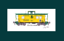 """Maine Central Standard Caboose #663 8.5""""x11"""" Matted Print Andy Fletcher signed"""