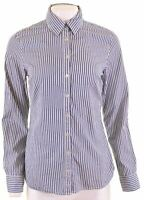 TOMMY HILFIGER Womens Shirt Size 8 Small Blue Striped Cotton  DZ24