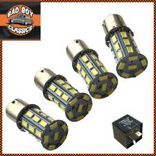 1156 BA15S 27 LED Turn Signal Indicator Bulbs White x4 + Relay CLASSIC CAR