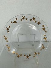 Arcoroc France Gold Star Clear Glass Plates, Set Of 4 - Christmas
