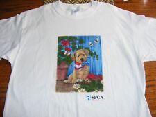 Womens T Shirt Spca International Adorable Golden Puppy In Flag Bandana Sz Large