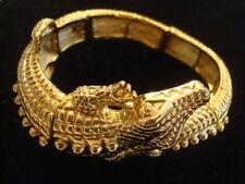 GORGEOUS KENNETH JAY LANE GOLD PLATED ALLIGATOR CROCODILE BRACELET CUFF EXC COND