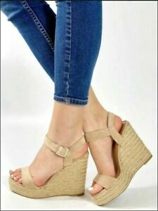 scarpe donna sandali espadrillas estive con tacco alto corda zeppa zatteroni 40