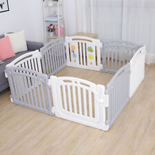 Large 8 Panels Baby Plastic Playpen Room Divider 3in1 Play Gate White/Grey PP02G