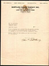 1923 Lafayette In - Lion Tire and Rubber  - Bartling Sales Agency - Letter Head