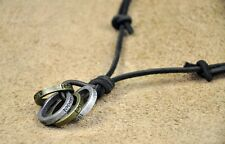 JN38 Cool Mens Surfer Beach Black Leather Cord Choker Necklace Multi Rings