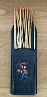 "Vtg Fire Mark Ins Large Fireplace Match Holder Black Iron 10.5"" Tall Emig 1344B"