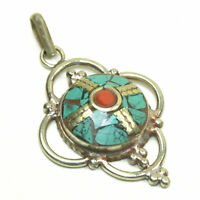 Mother/'s Day Natural Turquoise /& Red Coral Handmade Adjustable Ring LTE-050