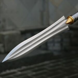 Overlord Spear pike lance Sword Hand Forged Folded pattern steel Spearhead #054