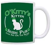 Cat Owner Gift St Patricks Day Kitten Kitty Irish Pub Sign Coffee Mug Tea Cup