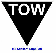 2 x triangle-noir tow Flèche course / rallye voiture stickers / autocollants
