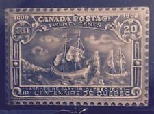 "QUEBEC ARRIVAL ""CARTIER"" 1/4 OZ. .999 SILVER REPLICA OF CANADIAN 20 CENT STAMP"