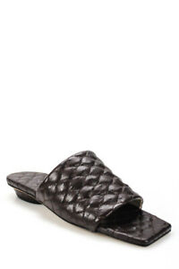Tibi Womens Leather Han Quilted Sandals Tobacco Brown Size 35 5