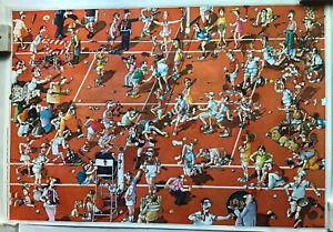 Crazy Funny Tennis Cartoon Vintage Roger Blachon Poster