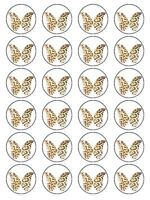 X24 LEOPARD PRINT BUTTERFLY WEDDING BIRTHDAY CUP CAKE TOPPERS ON RICE PAPER