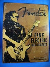 FENDER ELECTRIC GUITAR FINE INSTRUMENTS SINCE 1946 METAL TIN SIGN MADE IN THE US