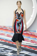 $2635 NWT PETER PILOTTO RUNWAY HALTER FLOUNCE Black Multi DRESS UK 12 US 8