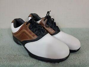 FootJoy Contour Fit Tour White/Black/Brown Leather Mens 10.5 M Golf Shoes NWOB