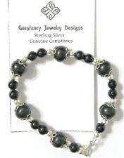 Sterling Silver Natural ONYX Gemstone Bead Bracelet...Handmade USA