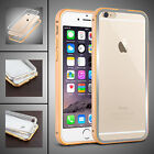 CLEAR Hard Back Aluminum Bumper Case Cover For New Apple iPhone 6S 6 5 5S