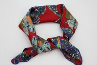 Women Silk Soft Fabric Square Scarf Tie Wrap Red Blue Colorfull Flowers Filigree
