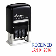 NEW Shiny S303 Small Self Inking Rubber Date Stamp (RECEIVED) - Red/Blue Ink