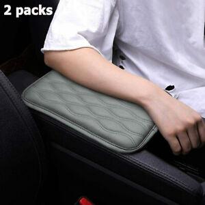 2pcs Car Armrest Pad Cover Auto Center Console Box Pu Leather Cushion Mat Gray
