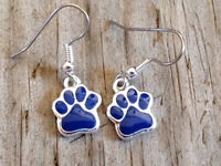 Large Royal Blue Dog Cat Tiger Paw Print Imitation Rhodium Enameled Earrings