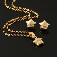 18ct GOLD FILLED PLATED STAR CRYSTAL EARRING & NECKLACE CHAIN PENDANT SET