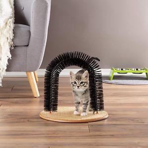 Self Groom Cat Arch Scratcher Bristle Ring Brush Control Shedding Healthy Fur