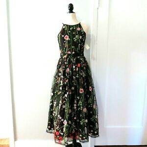 Soprano Black Tulle Women's Evening Dress Floral Embroidery S Cutaway Bodice