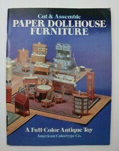 1981 Cut & Assemble Paper Dollhouse Furniture Full Color Antique Toy