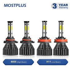 9005+H11 4 Sides COB LED Headlight High+Low Beams 6000K White Bulbs 4PCS