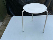 Small stool metal legs top wood painted white lot MZ230520R