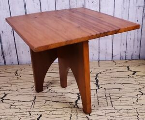 Vtg Mid Century Wooden End Side Table Nightstand Danish MCM Retro 3 legs Square