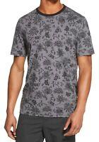 DKNY Mens T-Shirt Gray Black Size Medium M Floral Crewneck Graphic Tee $39 268