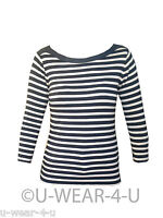 LADIES MARKS & SPENCER CAMEL AND BLACK STRIPE 3/4 SLEEVE TOP M&S COLLECTION